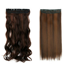 Thick 3/4 Head Hair Extensions Clip In 1 Pieces Straight Curly Brown Blonde