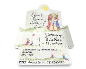 Peter Rabbit & Flopsy Bunny Personalised Invitations, Twins Birthday Pack 10
