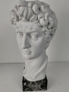 David Bust Statue (By Michelangelo) - Classic Male Bust Sculpture Marble
