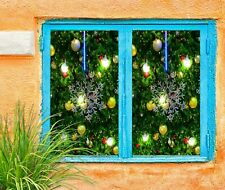 3D Green N596 Christmas Window Film Print Sticker Cling Stained Glass Xmas Fay