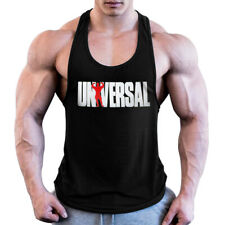Men Universal Nutrition Tank Top Y-Back Gym Muscle Racerback Straight Bottom