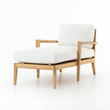 """61"""" Silvano Outdoor Chaise Natural Teak Occasional Chair Acrylic Canvas Whit"""