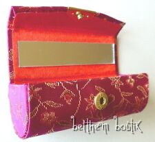 Asie : Etui à Rouge à Lèvres Simple Miroir Tissu Chinois FUCHSIA Petites Fleurs