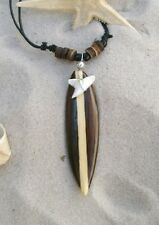 BRAND NEW LUCKY TALISMAN SHARK TOOTH BROWN WOODEN SURFBOARD NECKLACE / n088gy