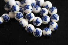 10pcs10mm Round Porcelain Ceramic Loose Spacer Beads Big Hole Charms Blue Pinery