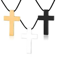 & Leather Adjustable Necklace Stainless Steel Polished Cross Pendant