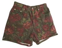 Halston Jeanswear Womens Size 8 M Shorts Cotton Brown Maroon Floral High Waist
