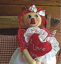 "Primitive Raggedy Ann Cloth Doll Pattern ""Sweet Annie Red Shoes"" 21"" Doll"