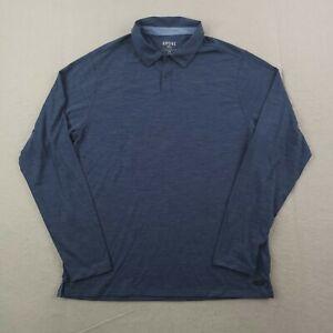 Rhone Merino Wool Blend Polo Shirt Mens Large L Blue Long Sleeve Performance