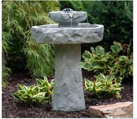 Solar Bird Bath Tier Rock Style Fountain Garden Water Resin Yard Outdoor Decor
