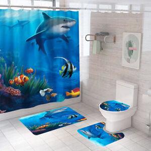 Jaws Shower Curtain Set Bathroom Rug Thick Non-Slip Toilet Lid Cover Bath Mat