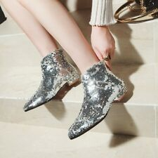 Fashion Sequins Women Ankle Boots Block Low Heel Booties Pointed Toe Party Shoes
