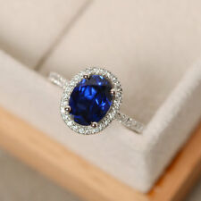 2.45 Ct Natural Diamond Engagement Blue Sapphire Ring Oval 14K White Gold