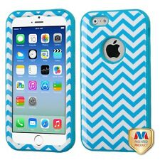 for APPLE iPhone 6 /6S ( REGULAR) WHITE BLUE WAVE VERGE SKIN CASE+GLASS SCREEN