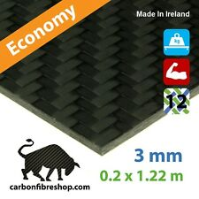 ECONOMY Real Carbon Fibre Sheet 3 mm (1220 x 200 mm)