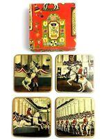 RARE Set of 4 Vintage English Life British Horsemen Cork Back Coasters Barware