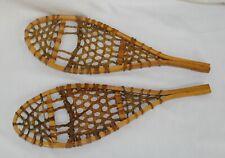 "Vtg Salesman Sample? Miniature Snowshoes Canada Handmade Wood Rawhide 16"" x 5"""