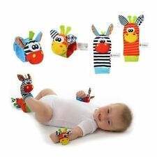 HOT 4pcs Baby Infant Soft Toy Wrist Rattles Foots finders Developmental Sozzy