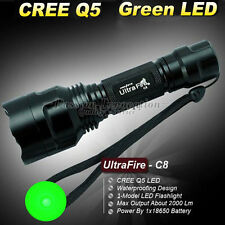 1Model CREE 2000 Lumens C8 18650 Ultrafire LED Flashlight Torch Lamp Green Light