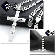 "30""Men Stainless Steel 9mm Silver Cuban Curb Necklace Bracelet Cross Pendant*Bj1"