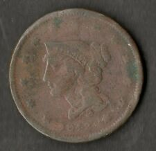 USA Large Size Copper One Cent 1842 VG-F Small Date
