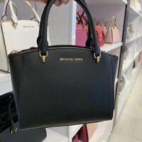 NWT Michael Kors Ellis Small Convertible Leather Satchel Crossbody Bag BlackGold