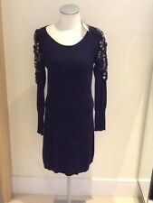 derhy navy knitted dress size small with studing detail to arms