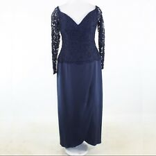 Navy blue lace 100% silk JOANNA MASTROIANNI 3/4 sleeve maxi dress 12