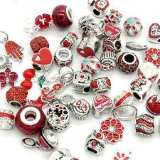 Red 10pcs mix Silver CZ European Charm Beads Fit Necklace Bracelet Wholesale