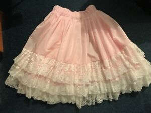 Pink cotton petticoat with three tiers of beautiful blush pink lace