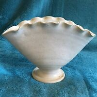 Vintage Cole Pottery Nell Cole Graves Fan Vase White Glaze NC Folk Art NCG 89