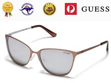 GUESS Women's GF6010 29C Bronze/White Metal Frame Mirror Lenses Sunglasses