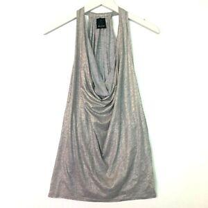 ella moss sleeveless draped neckline tank top grey gold shimmer size medium