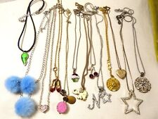 Lot of 13 silver & gold tone metal pendants & chain necklaces heart star locket