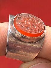 Antique Ottoman Qajar ISLAMIC Agate Seal Tugrah Inlaid In Silver Ring.