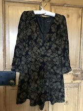 River Island at ASOS Christmas playsuit plunge wrap black and gold size 8