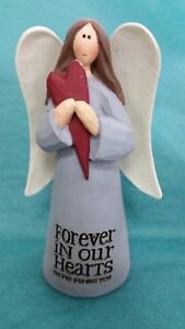"""Angel Statue Figurine """"FOREVER IN OUR HEARTS never forgotten"""" Heart Comfort"""