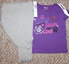 New! Girls DKNY Outfit (Shirt, Pants; Peace Love; Glittery; Purple) - Size 3T