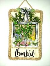decorative craft- wall hanging - plaque - greenery , flowers ,-- THANKFUL