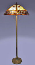 "Tiffany Style Brown Amberjack Floor Lamp 18"" Shade 2 Light Handcrafted New"