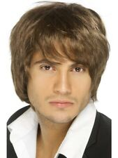 Brown Boy Band Wig Short-Style Adult Mens Smiffys Fancy Dress Costume