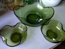 Vintage Mid Century Anchor Hocking 3 Piece Chip And Dip Set