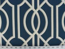Drapery Upholstery Fabric 100% Cotton Geometric Art Deco Print - Navy