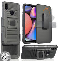 Black Rugged Grip Case with Stand + Belt Clip Holster for Samsung Galaxy A10s