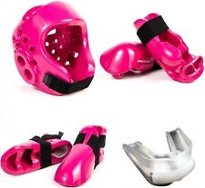 Sparring Gear Set for Karate Taekwondo with Headgear Hand Foot Guards - Pink