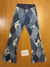 Vintage custom patch work bell bottom button fly meas 26x33 denim hippie  V4899