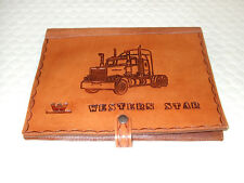 TRUCK LOG BOOK COVER  WORK DIARY LEATHER WESTERN STAR