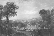 Classical Ancient Italy PALACE TEMPLES River, 1863 LANDSCAPE Art Print Engraving