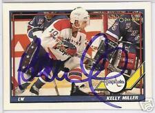 KELLY MILLER WASHINGTON CAPITALS 1992 O P C  AUTOGRAPHED HOCKEY CARD JSA