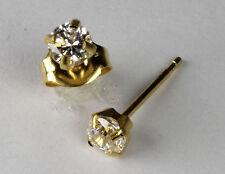 Studex Sensitive Gold 4mm Clear Cubic Zirconia CZ Stud Earrings